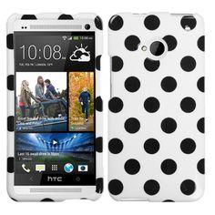 HTC ONE - BLACK POLKA DOTS/WHITE $6.50 www.myphonecase.com #htcone, #htccases, #htconecase, #htconecover