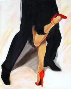 Tango canvas art,  tango dancers legs painting with red shoes, Modern art  wall decor perfect wedding gift by SherisArtStudio on Etsy