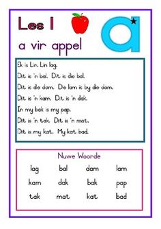 Afrikaans Leesboek Vlak 1 by Lyna's School Stuff Teaching Letter Recognition, Teaching Letters, Quotes Dream, Life Quotes Love, 1st Grade Math Worksheets, Preschool Worksheets, Robert Kiyosaki, Napoleon Hill, Afrikaans Language