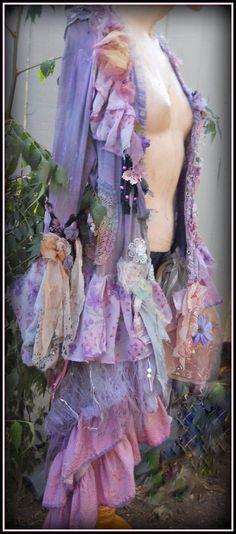 Bohemian Tunic jacket handmade art to wear hand dyed textiles