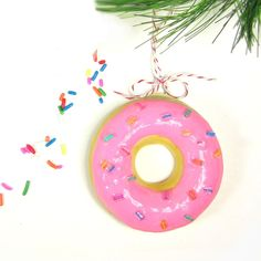 DIY donut ornaments - A fun craft for the whole family this holiday season., DIY and Crafts, 365 Designs: DIY donut ornaments - A fun craft for the whole family this holiday season. Easy Ornaments, Bird Christmas Ornaments, How To Make Ornaments, Handmade Christmas, Christmas Crafts, Christmas Ideas, Xmas Tree, Christmas Decorations, Christmas Stuff