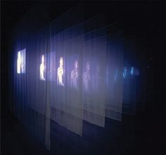 Bill Viola, the veiling', video still LACMA Retrospective GRI Scholars Program Intern Projection Installation, Interactive Installation, Projection Mapping, Fabric Installation, Light And Space, Stage Design, Set Design, Scenic Design, Art Moderne