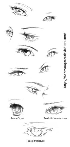 Manga Drawing Tips Eyes realistic anime style by TheDreamgazer - Drawing Techniques, Drawing Tips, Drawing Sketches, Art Drawings, Sketching, Drawing Ideas, Drawing Faces, Anime Drawing Tutorials, Eye Sketch