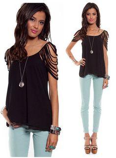 Black Shredded Shoulder Flowy Short Sleeve Tank Top Blouse Summer Edgy Chic | eBay