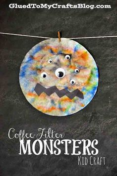 Tye Dye Coffee Filter Monsters - Kid Craft Idea - Halloween DIY
