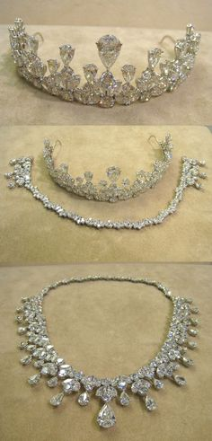 Platinum set tiara/necklace, showing necklace fitting.