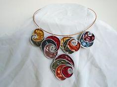 upcycled Choker necklace, Choker necklace, aluminium with swirls