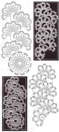 Many wonderful variations of Queen Anne's Lace crochet stitch with charts on Russian site.