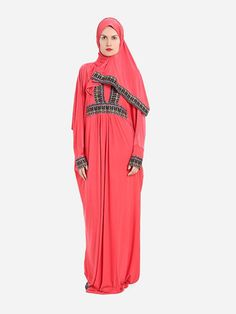 Isdal Prayer Dress Embroidered Imperial Red With Hijab
