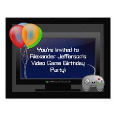 Plasma Video Game Gaming Birthday Party Invitation