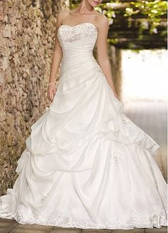 Dramatic Organza Satin & Satin Ball Gown Strapless Sweetheart Neckline Pick-up Beaded Appliques Wedding Dress
