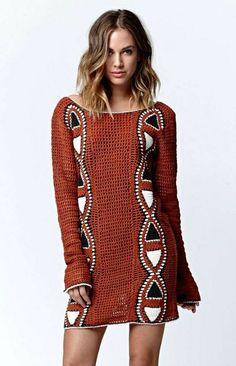 crochelinhasagulhas: Vestido marrom em crochê