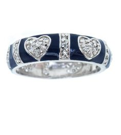 Lauren G. Adams Sterling Silver Blue CZ Hearts Ring #Band