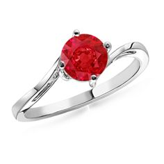 Round Ruby Curved Shank Ring