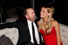 Pin for Later: The 45 Best Pictures From Last Year's Golden Globes  Aaron Paul and his wife, Lauren Parsekian, were just adorable inside the Weinstein Company soiree.