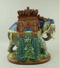 Gien, France Majolica Elephant Tobacco Jar, Reverse Teapot Cookies, Elephant Art, Some Image, Black Forest, Cookie Jars, Jaipur, Elephants, Tea Pots, Tiles