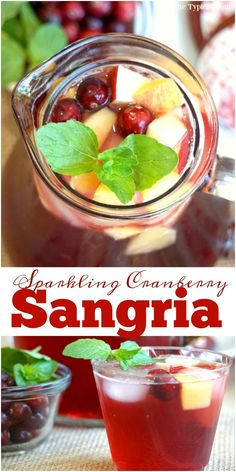 Sparkling cranberry sangria recipe that looks and tastes amazing! Make it a cocktail or mocktail, either way it's great for the holidays. AD