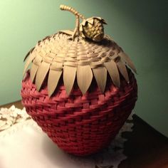 Strawberry basket, Chippewa Indian, Sault Ste Marie, Michigan, woven from dyed black ash