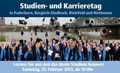 Studien- und Karrieretage der FHDW - Fachhochschule der Wirtschaft - in Bergisch Gladbach, Bielefeld, Mettmann und Paderborn: 23.Februar 2013 ab 10 h ...