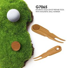 Amazing bamboo golf divot repair tool with magnetic marker! Keep track of your ball and your marker! #promotional item