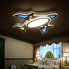 Modern Remote control Children Ceiling lights luminarias dimming led ceiling lamp for children bedroom lighting Kids Ceiling Lights, Bed With Led Lights, Modern Led Ceiling Lights, Led Ceiling Lamp, Ceiling Decor, Bedroom False Ceiling Design, Bedroom Ceiling, Gypsum Ceiling, Plafond Design