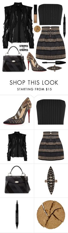 """""""It's all about the STRIPES #18•"""" by juliedebbas ❤ liked on Polyvore featuring Christian Louboutin, Thierry Mugler, Elie Saab, Proenza Schouler, Forever 21, Pat McGrath, L'Oréal Paris, stripesonstripes and PatternChallenge"""