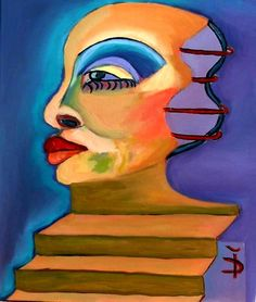 Stairs of Knowledge. There are many stairs in our life until we reach knowledge Expressionist portrait; Size: 70 x 50 cm; Price: 550 dollars - by Daniela Isache. Art Prints For Sale, Fine Art Prints, Expressionist Portraits, Composition Painting, Oil On Canvas, Modern Art, Knowledge, Stairs, The Originals