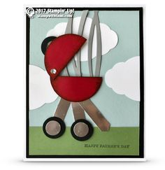 """PUNCH ART GRILL CARD My man card for today is this super cute """"punch Art"""" Weber Grill card. Created with a few Stampin Up punches, and the Swirly Scribbles die. Check out my how to video below and see just how fun and easy this card is to make. Anytime you are doing p"""