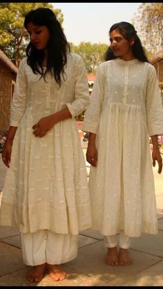 Beautiful Cotton-Chanderi Kurtis with traditional silhouettes. Embellished with thread embroidery as small butis.