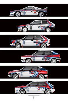 Lancia Martini rally cars by Ricardo Santos — rally 037 – Delta S4 – Delta HF 4WD – Delta HF integrale – Delta HF integrale 16V – Delta HF