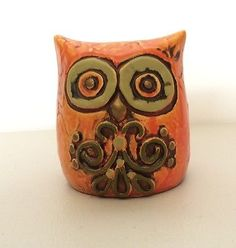 Vintage-OWL-BANK-Chalkware-Plaster-Japan-Retro-Orange-Avacado-Green