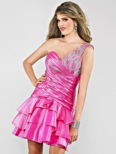 Sheath/Column One Shoulder Taffeta Short/Mini Fuchsia Beading Prom Dresses