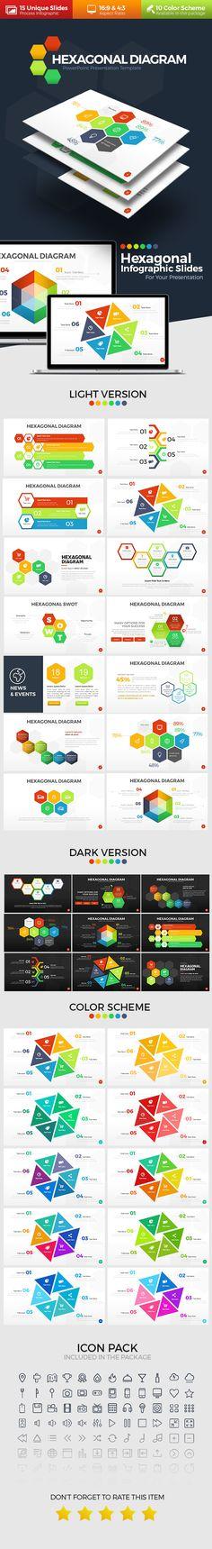 Hexagonal Infographic PowerPoint Template. Download here: https://graphicriver.net/item/hexagonal-infographic/17429049?ref=ksioks