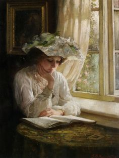 """Lady reading by a Window"" by Thomas Benjamin Kennington (1856-1916), was an English Genre, Social Realist & Portrait Painter ....."