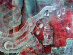 Musique secrète, peinture à l'huile et collage sur toile