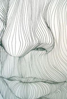 Line Drawing: Op art, Contour line Art Drawings, Contour Drawings, Drawing Drawing, Drawing Faces, Cross Contour Line Drawing, Contour Line Art, Drawing Lessons, Op Art Lessons, Drawing Ideas