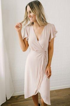 19bbfe6f7 spinning load wheel Wrap Dress Midi, Pink Midi Dress, Everly Dresses,  Neutral Dress