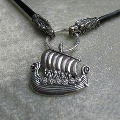 Drakkar Ship Viking Necklace Pendant Sterling silver por RuyaN