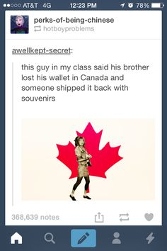 Hetalia ~~ Oh, Canada! what's (or who is, maybe) Hetalia? I wish I lived in Canada sometimes, ya know? Funny Pins, Funny Memes, Hilarious, Funny Tumblr Posts, My Tumblr, Canada Jokes, Canada Eh, Canada Funny, Hetalia