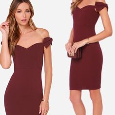 "Off the shoulder bow bodycon dress ➖SIZE: xsmall ( see measurements ) ➖STYLE: burgundy bodycon dress with off the shoulder bow straps   ➖MEASUREMENTS    ➖BUST: 12.5""    ➖WAIST: 11""    ➖LENGTH: 28"" Lulu's Dresses"