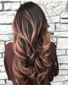 Rose gold brown Balayage   hair, hair style, hair color, long hair #hair