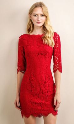 3/4 SLEEVE RED LACE DRESS