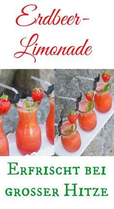 Wie wäre es mit dieser fruchtig leckeren Erdbeer-Limonade? Immer Wasser pur ist doch langweilig. Total erfrischend. Mit und ohne Thermomix sehr schnell hergestellt. Ich leibe Erdbeeren .