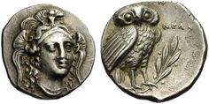 Drachm Lucania, Head of Athena and wearing Attic Helmet - from Herakleia, irca 280-270 BCE