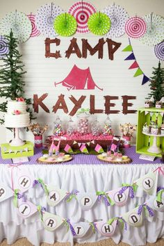 Glamping party for a tween girl birthday party | Catchmyparty.com