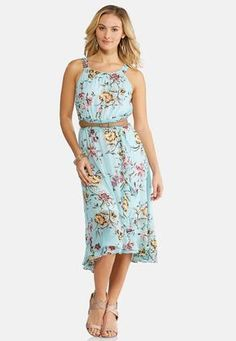 be2c61fdf1b5 Cato Fashions Plus Size Belted Floral Midi Dress #CatoFashions Cato Fashion  Plus Size, Cycling