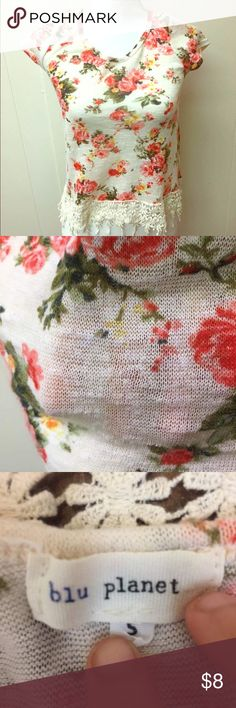 Blu Planet Floral Crochet T Shirt Excellent used condition. Crochet detail on bottom. Great for something like a bathing suit cover up (as you can see it's kinda see through). Blu Planet Tops