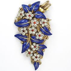Trifari 'Alfred Philippe' Gold Blue Enamel Leaves and Diamante Spangled Flowers Floral Spray Pin Clip