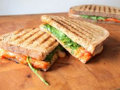 Portobello Mushroom And Goat Cheese Sandwich With Smoked Pepper Spread ...
