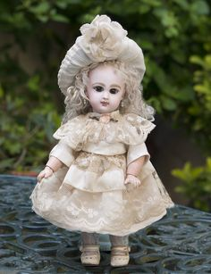 """9 1/2"""" Petite French Bisque Bebe Jumeau with closed mouth, Size 1 in Antique Dress"""